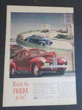 Original 1940 Print Ad Watch the Fords Go by Highways Bridge Pedestrians Art