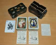 More details for two vintage packs chas goodall playing cards & antique oriental black laquer box