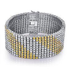 "Appraised $280 Wedding Gift 9.12"" White Topaz & Citrine Gemstone Silver Bracelet"