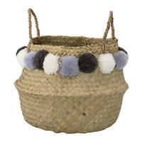 Bloomingville Deko Korb mit Griff aus Seegras mit Bommeln für Wäsche, Spielzeug