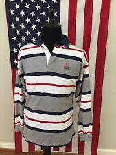 vtg Gant USA Striped Rugby Shirt men's LARGE polo grey red blue preppy l/s 1b690
