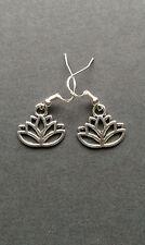 Simple Lotus Flower, Yoga, Namaste Earrings on .925 Sterling Silver French Hooks