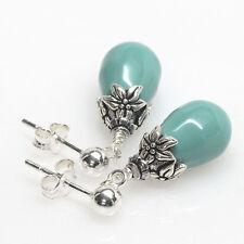 Crystal Pearl Stud Earrings, Post, Jade, Aqua, Petite, Dangle