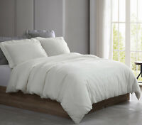 Linen Cotton Duvet Cover Set 3 Pieces Queen King White, Lt.Grey 2 Pillow Shams