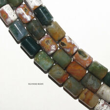 1 strand mixed ocean jasper moss agate & fancy agate barrel beads high grade #48