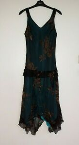 Gorgeous Turquoise & Brown Silk Dress by Jonathan Martin - Size 14 - Great!