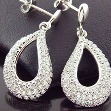 EARRINGS GENUINE REAL 925 STERLING SILVER DIAMOND SIMULATED STUD DANGLY DROP
