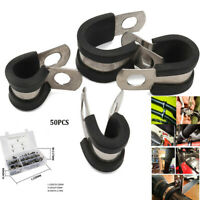 50*Cable Clamps 1/4'' 3/8'' 5/16'' Assortment Rubber Cushion Insulated Clamp
