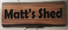 Personalised SHED Ironbark Slab Timber Sign 650mm Long