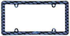 Ford Emblem Plastic Auto Tag License Plate Frame with Silver-Tone Border