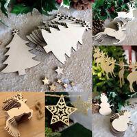 10PCS Christmas Wood Chip Tree Ornaments Xmas Hanging Pendant Decoration Gifts
