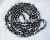"stunning long 50"" 9-13mm baroque black freshwater cultured pearl necklace"