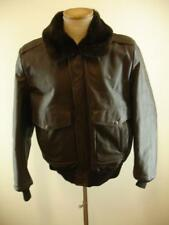 Mens S M 40 Excelled G-1 Brn Leather Bomber Flight Jacket Faux Fur Collar Lining