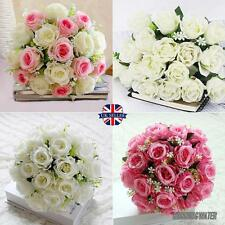 18Head Artificial Silk Roses Flowers Bridal Bouquet Posy Home Wedding Decor Xmas