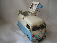 VW Metal Blue Kombi Rustic Photo Frame Pen Holder Skis Retro Vintage