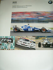 BMW Competition press pack 2002 F1 WILLIAMS FORMULE BMW ADAC ETCC Juan Montoya
