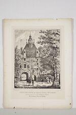 Lithographie 1828 Château d'Outrelaise porte d'entrée de la Cour arr Falaise 14