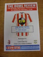 23/09/2013 Romulus v Leek Town [At Sutton Coldfield Town] . Item in very good co