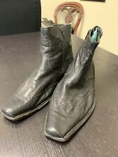 "Black Leather Men's Dress Shoes, ""Cuban Heel"" / Beatles style, SZ 9 1/2, zippers"