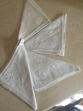 Mosaic Lace Ivory Linen Beverage Napkins Hand Made Hemstitched 4 Pc Set