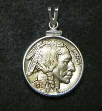 US Buffalo Nickel Sterling Pendant 1936