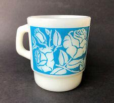 Anchor Hocking Vintage Milk Glass Cup Mug Blue Rose Roses Flowers Floral