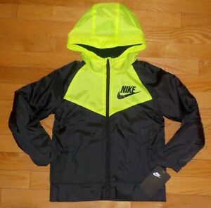 Nike Boys Fleece Lined Jacket Hooded Black Voltage Green 6 7 NWT $65