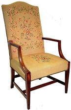 Antique Sheraton Style Solid Walnut Armchair Inlaid Burl Cameo, Needlepoint