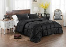 Comforter Set Queen Size Bedding Reversible Oversized Overfilled Black 3 Piece