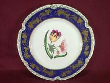 "#11 CHELSEA HOUSE K494 FLORAL DECORATIVE DINNER PLATE 10.75"" - COBALT/GOLD"