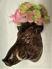 More details for quail ceramic wild boar head wall pocket or vase - wildlife animal figure model
