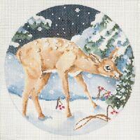 "Needlepoint Handpainted JOY JUAREZ CHRISTMAS Fawn Ornament 5.5"""