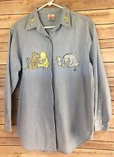 Vintage Disney Store Denim L/S Embroidered Buttoned Shirt Classic Pooh SZ S