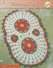 Noel Doily Crochet Pattern - Christmas Magic HOWB Series Oval Poinsettia