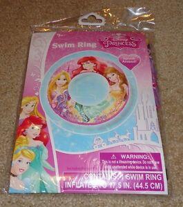 """Brand New Disney Princess Inflatable Swim Pool Ring 17.5"""" w/ Repair Kit"""