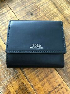 Polo Ralph Lauren Medium 2 Sided Trifold Billfold Compact Wallet Genuine Leather