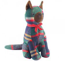 LUXURY grande animale Doorstop ~ segno di spunta verde Tartan seduta CAT 27605
