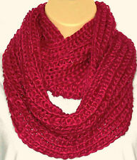 Superb Chunky Knit Red Circle Loop Infinity Scarf Snood - Great Size & Quality