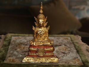 "ANTIQUE THAILAND BUDDHA 7-1/2""H GILT"