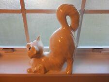 Vintage Persian Large Cat figurine Crouching White Ceramic