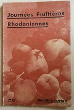 JOURNEES FRUITIERES RHODANIENNES MEMOIRES & RAPPORTS 1937