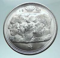 1954 BELGIUM Kings Leopold I II III & Albert I Silver 100 Francs Coin i82413