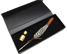 Long Tail Feather Pen with Retro Copper Pen Shaft Collectible Quill Pen