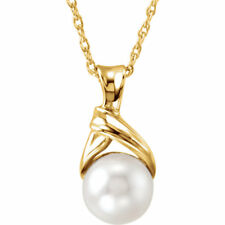 """Akoya Cultured Freeform Pearl 18"""" Necklace In 14K Yellow Gold"""