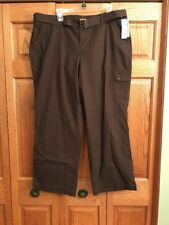 ab1307a2dfe Dockers Woman Pants Brown Zip Fly Belted Womans Size 18W Short New