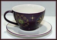 Starbucks 12 oz Purple Star 2 piece Mug Cup w/Saucer. Coffee Holiday 2006