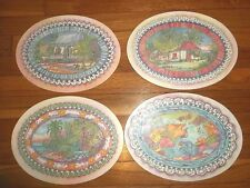 Set of 4 Wood Oval PLACEMATS Debbie Chase Van der bol CAYMAN art pictures