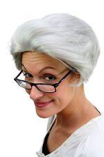 Perruque de Grand-Mère Gris Onde Crête Opa Grand-Père Unisexe Carnaval PW0206