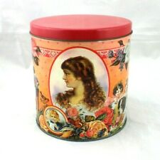 Victorian Graphic Valentines Day Tin Container Roses Children Portraits Love