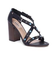 New Valentino Rockstud Rolling Leather Block Heel Sandals Size 35EU/5US $1045.00